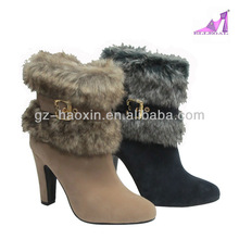 2013 wholesale fashion high heel fur snow boots for women(805-8)
