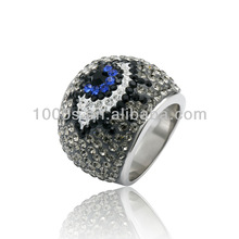 black and white crystal eye rings with 925 silver