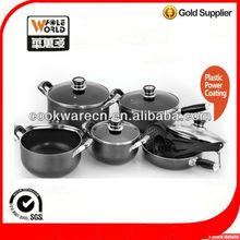 16pcs cookware set plastic powder coating