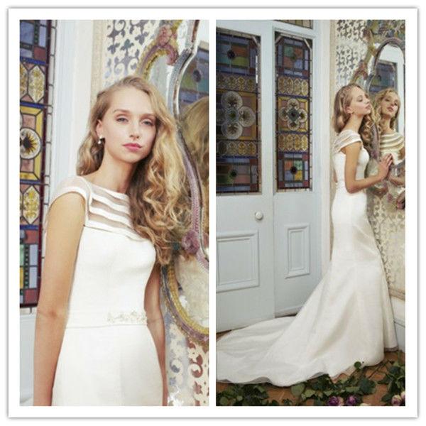 W0167 Mermaid Bateau Short Sleeve Sashes Beads Buttons Chapel Train Wedding Dress Bridal Gown 2013