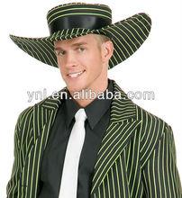 Black Red Pimp Gangster Dress Up Halloween Zoot Suit Hat