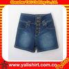 OEM high quality dark blue plain washed sexy girls high waist denim jean shorts
