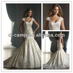 WD-1551 Chic cap sleeve mermaid cut lace victorian style wedding dresses fish tail