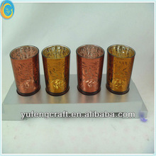 4 piece vintage tealight candle holder with wooden base