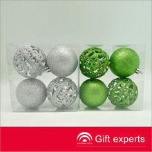 Fashion green/silver engraved Christmas balls