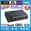 New Arrival !! 800 lumens Full HD 3D shutter mini DLP projector,convert 2D to 3D pocket dlp RGB led projector built-in battery