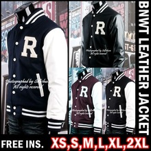 R College Varsity Letterman Wool & Leather Baseball Jackets US XS~XXL