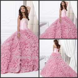 Charming Ball Gown Floor Length Sweetheart Ruffles Organza Pink Quinceanera Dress DQ018