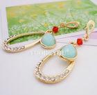Wholesale Fashion female Austrian crystal Hollow blue resin droplets earrings stud