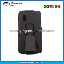 hard black swivel belt clip shell holster combo + stealth kickstand case cover for lg nexus 4 e960