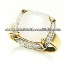 Grey Moonstone and Diamond Ring Jewelry