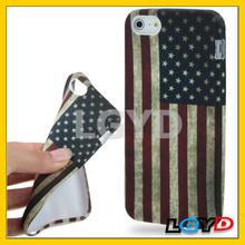Retro USA Flag Style TPU Case for iPhone 5,new design mibile phone case