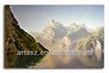 Montagne paisible& rivière, toile peinture de paysage