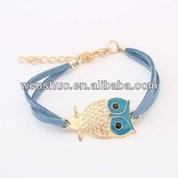 AWB-141 cheapest oil drip enamel colorful leather animal owl fashion bracelet