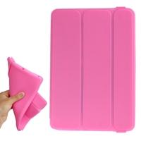 Fashion 3-folding Flip Silicone Case with Elastic Hand Strap for iPad mini