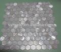 fluss schale mosaik fliesen 300x300mm weiß sechseck masche