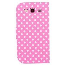 Wallet Stand Case for Samsung I9300 Polka Dot Hot Pink