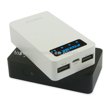 Built in LED logo with 2 usb/led torch power bank for macbook pro /ipad mini