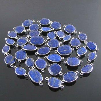 lapis lazuli Gemstones Bezel Connectors, 925 Sterling Silver Gemstone Bezels, Silver Jump Rings