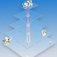square 5 tiers manufacturing clear acrylic cake display shelf