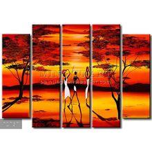 Handmade New Modern Group African figure oil painting, Long shadows