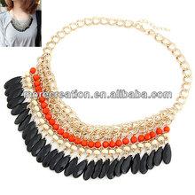 Orange !!!! 2013 New Layered Bohemian Tassels Drop Vintage Gold Choker Bib Statement Necklace