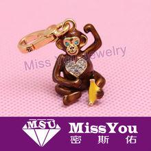 new design animal key chain monkey pendant