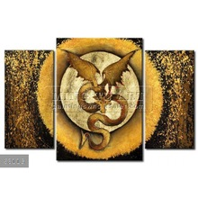 Handmade New Modern Group dragon oil painting, Contemporary painting Winged dragon