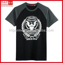Mens mens short sleeve raglan t shirts in black and grey school logo