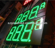 high brightness 12inch green ip65 waterproof led fuel price sign display
