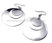 Circle disk Stainless steel for women drop dangle chandelier pendants fashion earrings jewellery