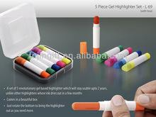 Solid gel highlighter/highlighter set/multi color gel pen