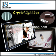Factory! advertising used ultra slim frameless LED acrylic PMMA A0,A1,A2,A3,A4 crystal lighting box / led display board price