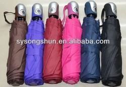 "21"" 53.5CM Windproof rubber handle 3 Fold automatic umbrella"