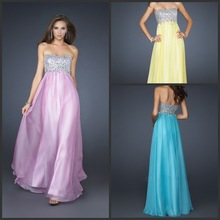 Free Shipping Elaborate Sweetheart A-line Chiffon Party Beaded Floor-length Best Evening Gown 2014