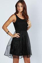 Newest lace top and organza ladies western dress designs,Fashion black ladies summer dress