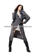 Long vest Woolen style sweater for winter with long sleeves in grey colour