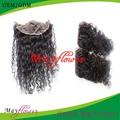 De rizos sueltos de despedida medio barato cordón y cierre de encaje frontal 100% cabello virgen brasileño línea de cabello natural