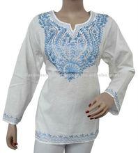 Women Cotton Kurti Floral Blue Embroidery Lady Evening Summer Wear Kurta