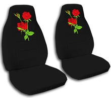 2 black car seat covers, with red roses