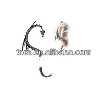 antique funky style silver plated fancy dragon ear cuff