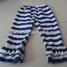 wholesale 100% cotton stripe kids leg warmer kids track wholesale knit ruffle pants