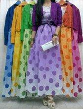INDO09020 Polkadot Cotton Maxi Dress with cardigan and belt