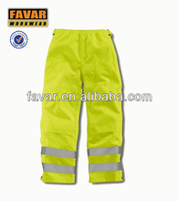 fluorescence yellow with reflective tapes pants for men fire retardant trousers working pants
