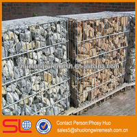 Factory supply galvanized square welded gabion box,wire cages rock retaining wall