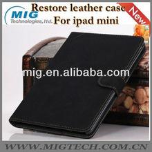 Restore style leather case for ipad mini, for ipad mini case