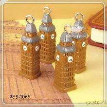 Resin Plastic Clock Tower Landmark Travel Charms Pendants 25x5mm