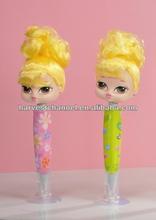 Promotional custom logo cheap dolly girl topper plastic ballpoint pen