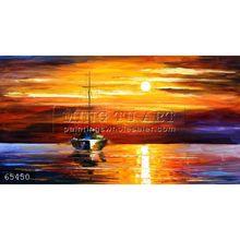 Handmade Modern Palette knife seascape oil painting by Leonid Afremov, SEA SHADOWS