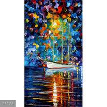 Handmade Modern impressionist Palette knife sailing boat Landscape oil painting by Leonid Afremov, BLUE SKY